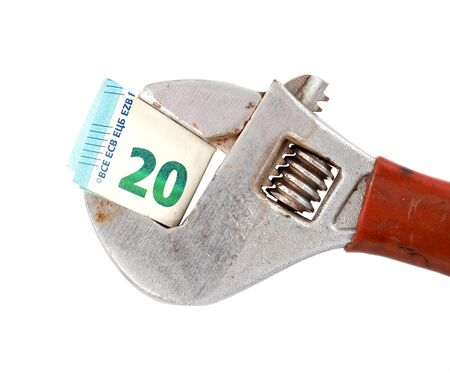 euro screw: image of a 20 euro banknote on adjustable pliers pipe wrench