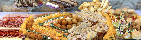 catering banquet table, Buffet with snacks at the outdoor event image Stock Photo