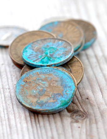 coin from macedonia, denar currency oxidation,image of a
