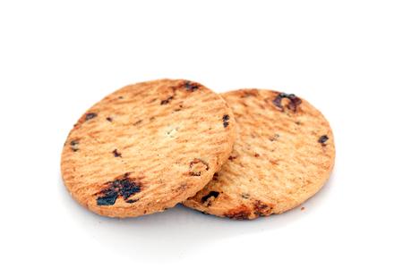 Cracker cookies with pieces of raisin