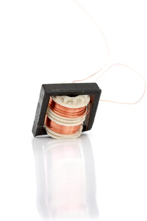 windings: Small device Transformer on white background,image of a Stock Photo