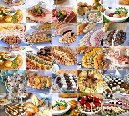 antipasto platter: collage of a variety catering food on a table, food decoration, party concept, delicatessen