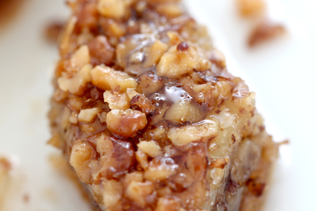 baklava: Homemade turkish baklava with walnuts and syrup,image of a