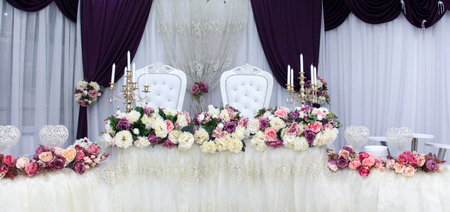 Beautiful flowers on table in wedding day , image Stock Photo - 84117329