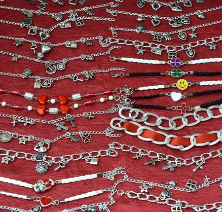 various cheap bracelets for sale on a bazaar