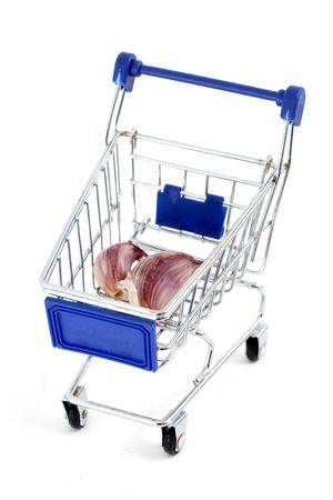 pushcart: shopping cart isolated on white background, image of a
