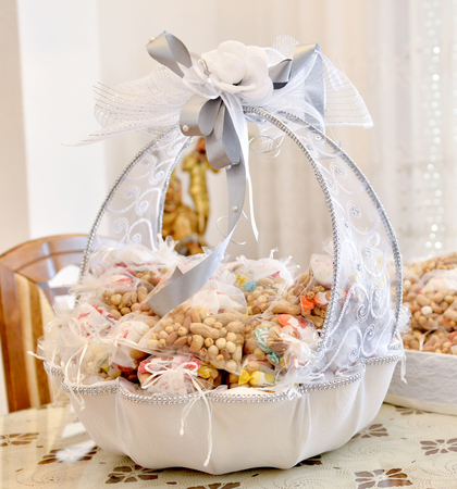 wedding gifts for guest in a decorated bowl , image of a