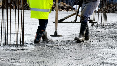 commercial concreting floors of buildings in construction Stock Photo