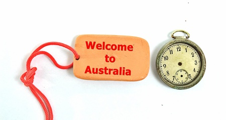 vintage clock and small clay plate with text welcome to australia,image of a