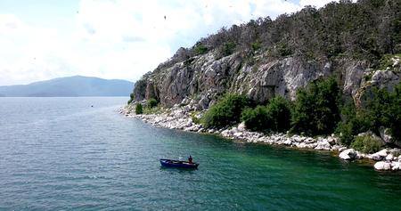 island golem grad in a lake prespa,macedonia,image