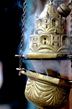 incense burner in a macedonian orthodox church, Stock Photo