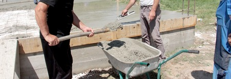 concreting the floor of a new house
