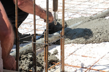 concreting the floor of a new house,leveling concrete Standard-Bild