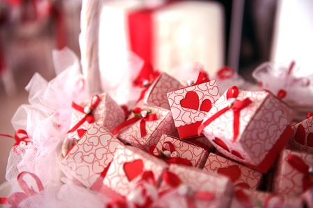 wedding gift boxes with red ribbon decoration Stock Photo