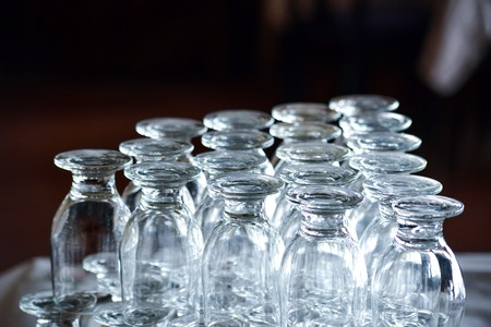 empty drinking glasses in a restaurant,shallow dof image