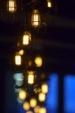 Designed Vintage lighting hanging, selective focus image of a Reklamní fotografie