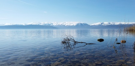 lake prespa in north macedonia, image 스톡 콘텐츠