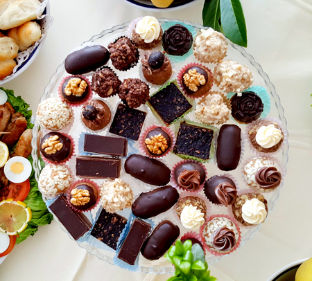 various homemade bonbons, truffles, catering food