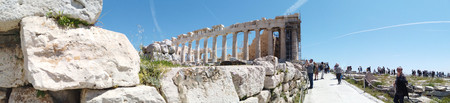 Athens, Greece - May 5, 2019: Panoramic image view of a greek landmark on the Acropolis of Athens, Greece.