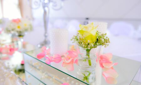 elegant table setting for bride and groom wedding theme Stock Photo