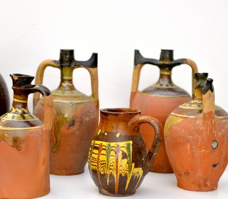 old handmade pottery from macedonia, image