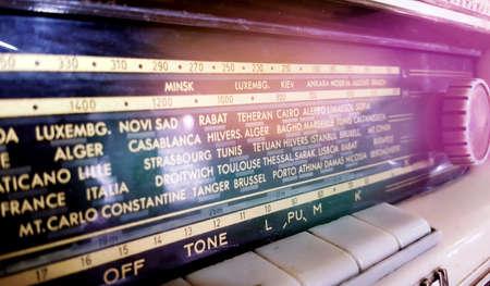 Vintage radio with names of radio stations image