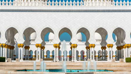 Fountain at Sheikh Zayed Grand Mosque timelapse located in Abu Dhabi - capital city of United Arab Emirates. Mosque was initiated by late President of UAE Sheikh Zayed bin Sultan Al Nahyan. It is largest mosque in UAE.