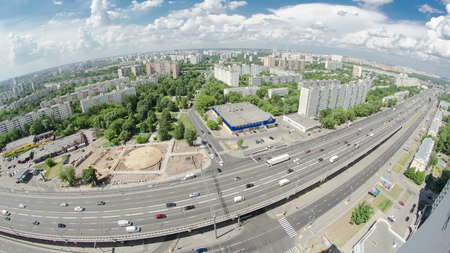 Top view of Traffic on the elevated road timelapse overpass on Yaroslavl highway in Moscow, Russia fisheye 4K