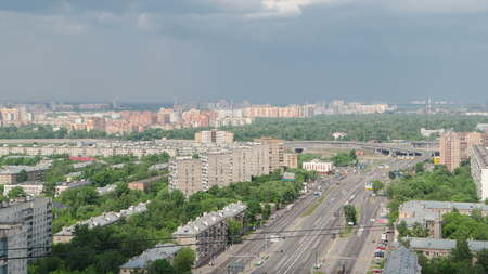 Top view of Traffic on the elevated road timelapse overpass on Yaroslavl highway in Moscow, Russia 4K Banco de Imagens