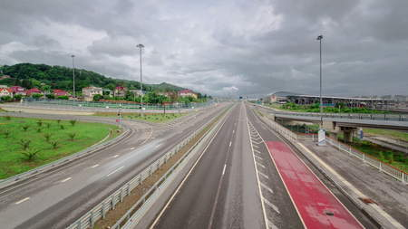 Traffic on highway Road M-27 timelapse at cloudy day Sochi Adler, Russia 4K Stock Photo