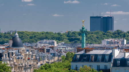 Panorama of Paris timelapse with Bastille column. View from observation deck of Arab World Institute (Institut du Monde Arabe) building. Top aerial view. Green trees, Seine river, Blue cloudy sky at summer day. France.