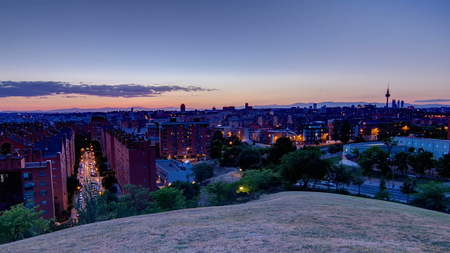 Panoramic day to night transition timelapse View of Madrid, Spain. Photo taken from the hills of Tio Pio Park, Vallecas-Neighborhood. 4K