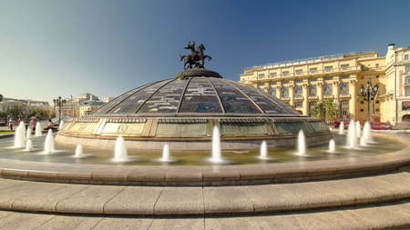 Glass cupola crowned by a statue of Saint George, patron of Moscow, at the Manege Square timelapse hyperlapse in Moscow, Russia 4K Banco de Imagens