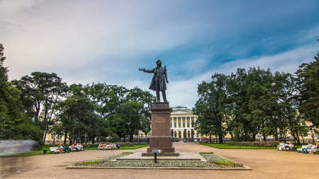 Monument to Alexander Pushkin timelapse hyperlapse on Ploshchad Iskusstv (Arts Square) in front of the Russian Museum ( Mikhailovsky Palace) in St.-Petersburg, Russia Editorial
