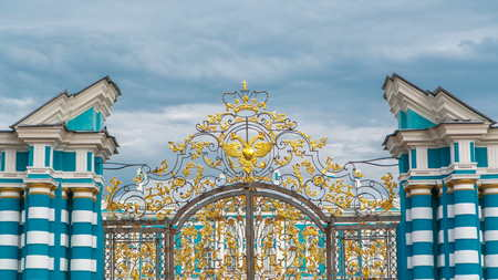 The Golden Gate timelapse. Pushkin (Tsarskoye Selo) - is one of St. Petersburgs numerous Imperial estates. Russia. Clouds on the sky Editorial