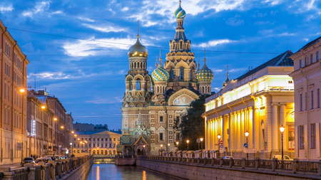 Church of the Savior on Spilled Blood night timelapse with reflection in Griboyedov canal. This is an architectural landmark of central St Petersburg, and a unique monument to Alexander II the Liberator.