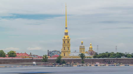 Peter and Paul Fortress across the Neva river timelapse hyperlapse, St. Petersburg, Russia. Cloudy sky