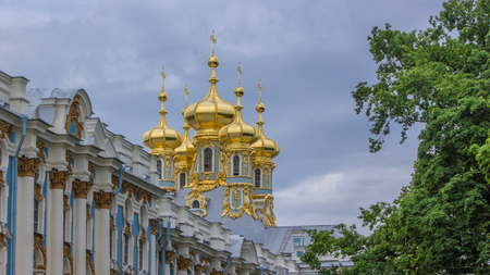 Catherine Palace with Church of the Resurrection timelapse. The Tsarskoye Selo is State Museum-Preserve. Located near Saint-Petersburg