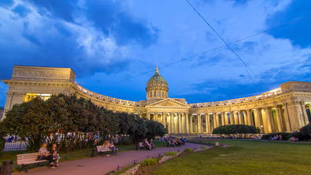 Kazan Cathedral (Kazanskiy Kafedralniy Sobor) in St. Petersburg during the White Nights in the summer timelapse hyperlapse. Day to night transition