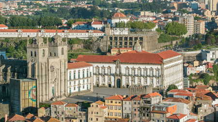 Cathedral of Porto -  panoramic view from Clerigos Tower in Porto timelapse before sunset, Portugal 4K