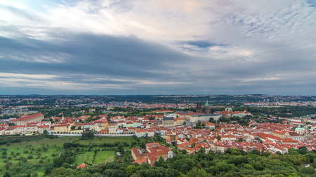 Wonderful timelapse View To The City Of Prague From Petrin Observation Tower In Czech Republic. Blue cloudy sky before sunset 스톡 콘텐츠