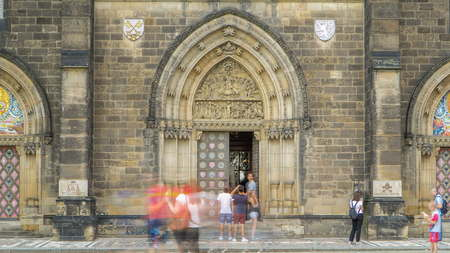Entrance door of the neo-Gothic Saint Peter and Paul Cathedral timelapse in Vysehrad fortress, Prague. In 2003 the church was elevated to basilica by Pope John Paul II. Reklamní fotografie