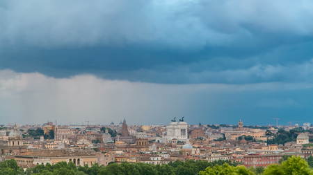 Panoramic view of historic center timelapse of Rome, Italy. Cityscape with heavy dramatic clouds and rain