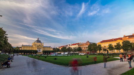 Panoramic timelapse view of Art pavilion at King Tomislav square at sunset in Zagreb, Croatia. It is the oldest gallery in the southeast Europe designed specifically to accommodate large exhibitions.