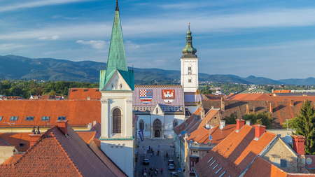 Church of St. Mark timelapse and parliament building Zagreb, Croatia. Top view from Kula Lotrscak tower