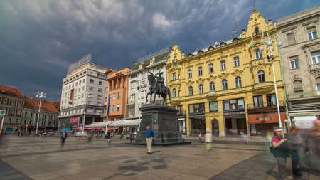 Ban Jelacic monument on central city square (Trg bana Jelacica) timelapse hyperlapse in Zagreb, Croatia. The oldest standing building here was built in 1827