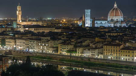 Famous Arnolfo tower of Palazzo Vecchio timelapse and Basilica di Santa Maria del Fioreon on the Piazza della Signoria at twilight from Piazzale Michelangelo in Florence, Tuscany, Italy. Night illumination