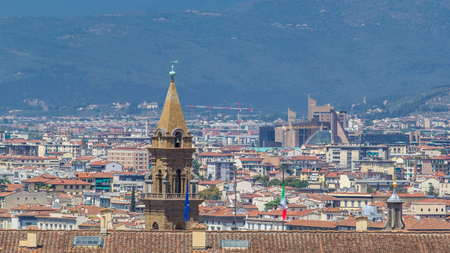 Beautiful landscape above timelapse, panorama on historical buildings with bell tower view of the Florence from Boboli Gardens (Giardino di Boboli ) point. Italy. Blue sky at summer day. Aerial top view. Фото со стока