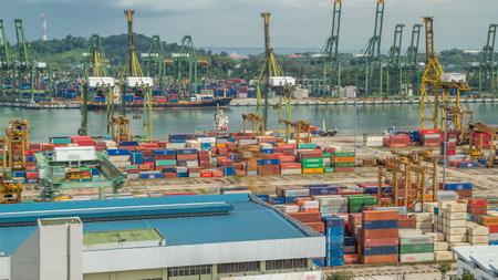 Port handlowy Singapuru timelapse. Panoramiczny widok z lotu ptaka na najbardziej ruchliwy azjatycki port towarowy z setkami statków ładujących towary eksportowe i importowe oraz tysiącami kontenerów w porcie