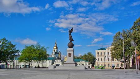 KHARKOV, UKRAINE - CIRCA AUGUST 2013: Monument of Independence timelapse hyperlapse. Nika the goddess on a ball on a background of the sky and buildings. City center. Kharkiv, Ukraine